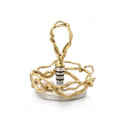 Michael Aram Wisteria Gold Wine Coaster and Stopper Set