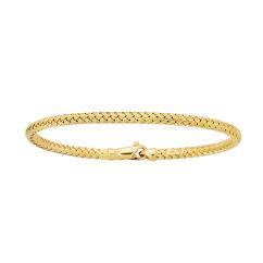 Classic 14k Gold Basketweave Bangle Bracelet
