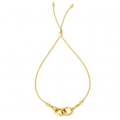 14k Gold Interlocking Bolo Bracelet