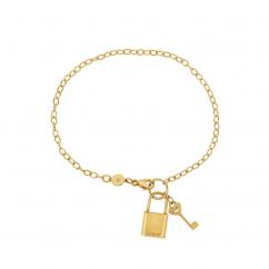 14k Yellow Gold Lock and Key Bracelet