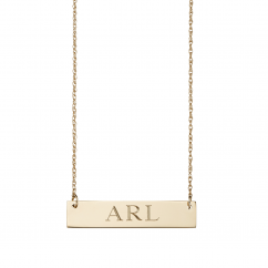 14k Gold and Block Monogram ID Bar Pendant