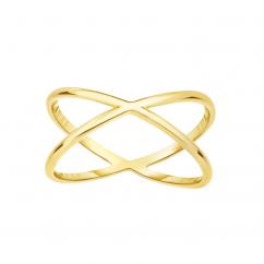 14k Yellow Gold X Ring