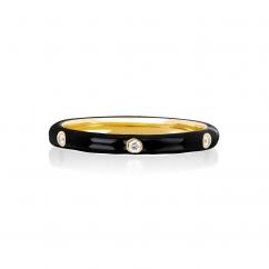 14k Gold and Black Enamel Stack Ring