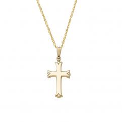 14k Yellow Gold Scalloped Cross Pendant