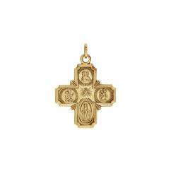 14k Yellow Gold 4 Way Cross Pendant