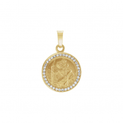 14k Gold and White Sapphire St. Christopher Pendant