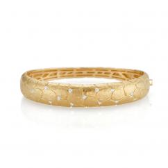 18k Yellow Gold and Diamond Bangle Bracelet