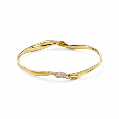 Ippolita Classico 18k Gold and Diamond Ribbon Bangle