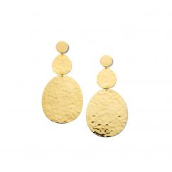 Ippolita 18k Gold Large Crinkle Hammered Snowman Earrings