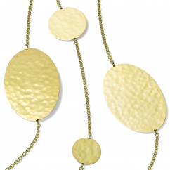 Ippolita 18k Gold Crinkle Hammered Oval and Circles Necklace