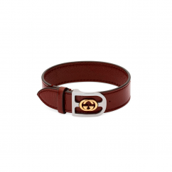 Gucci Double G Red Leather Bracelet