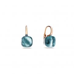 Pomellato Nudo Classic 18k Gold and Blue Topaz Earrings