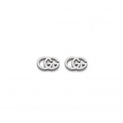 Gucci 18k White Gold Double G Earrings