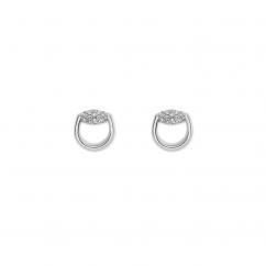 Gucci Horsebit 18k White Gold and Diamond Earrings
