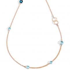Pomellato Nudo 18k Rose Gold and Blue Topaz Necklace