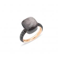 Pomellato Nudo Maxi 18k Gold and Obsidian Ring