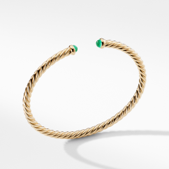 Cable Spira Bracelet with Emeralds in 18K Gold, 4mm