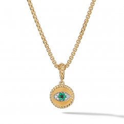 DY Evil Eye Amulet in 18K Yellow Gold with Pavé Emeralds and Diamonds