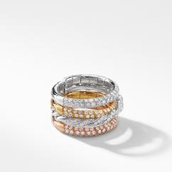 Pavéflex Four Row Ring with Diamonds in 18K White Gold