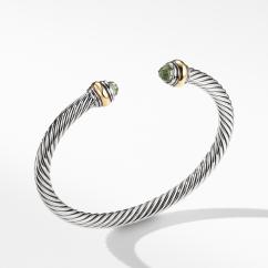 David Yurman Cable Classic Bracelet Prasiolite with 14K Gold, 5mm