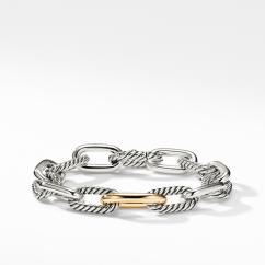 David Yurman DY Madison Chain Medium Bracelet with 18K Bonded Gold, 11mm