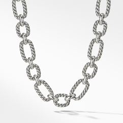 """Cushion Link Necklace with Blue Sapphires 18"""""""