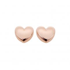 Classic 14k Rose Gold Heart Stud Earrings