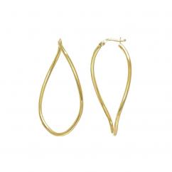14k Gold Twist Oval Hoop Earrings