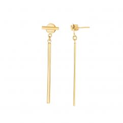 14k Yellow GoldTube Drop Earrings