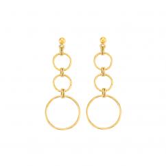 14k Yellow Gold Open Circle Drop Earrings