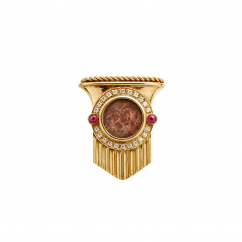 Estate 18k Gold Roman Coin Brooch