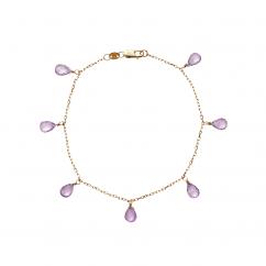Calypso 14k Gold Amethyst Drop Bracelet