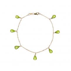 Calypso 14k Gold Peridot Drop Bracelet