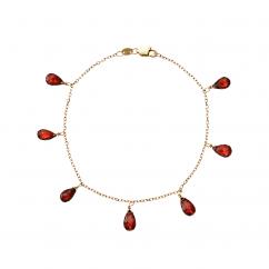 Calypso 14k Gold Garnet Drop Bracelet