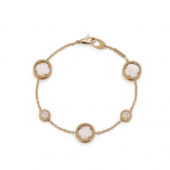 1970's 18k Gold and Mother of Pearl Station Bracelet