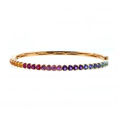 14k Yellow Gold Rainbow Gemstone Bangle Bracelet
