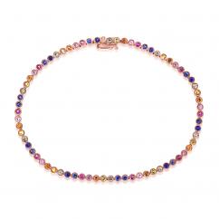 14k Rose Gold and Rainbow Gemstone Bracelet