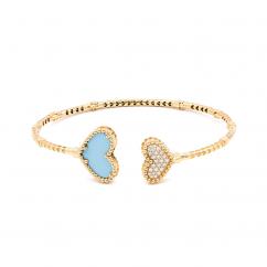 1970's 18k Gold and Heart ShapeTurquoise Bracelet
