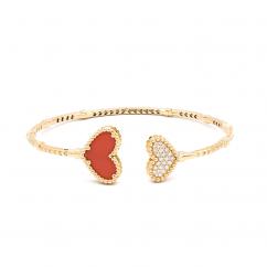 1970's 18k Gold and Heart Shape Coral Bracelet