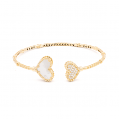 1970's 18k Gold and Heart Shape Mother of Pearl Bracelet