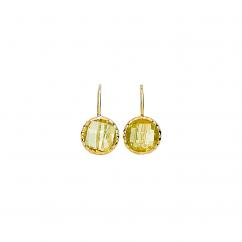 Facets 14k Gold Lemon Quartz Earrings