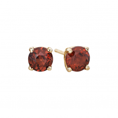 14k 5mm Garnet Birthstone January Stud Earrings