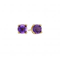 14k 3mm Amethyst Birthstone February Stud Earrings
