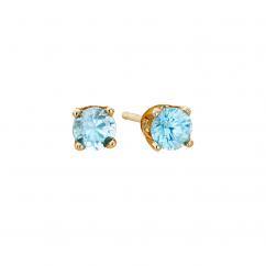 14k 3mm Aquamarine Birthstone March Stud Earrings