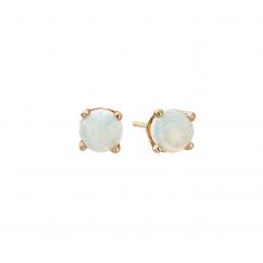 14k 3mm Opal Birthstone October Stud Earrings