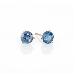 14k Gold 7mm Blue Topaz Stud Earrings