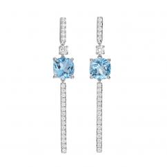 18k White Gold and Cushion Blue Topaz Earrings