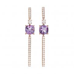 18k Rose Gold and Amethyst Earrings