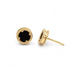 1970's 18k Gold and Black Onyx Earrings