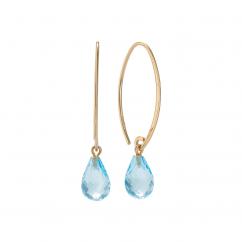 Calypso 14k Gold and Blue Topaz Threader Earrings